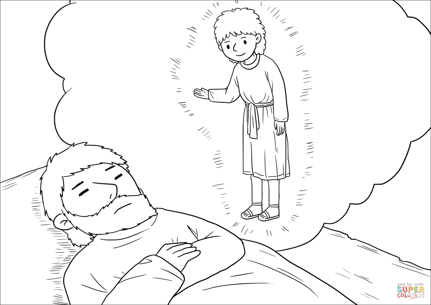 Angel Visits Joseph Coloring Page An Angel Of The Lord Appeared To Joseph In A Dream Coloring Page