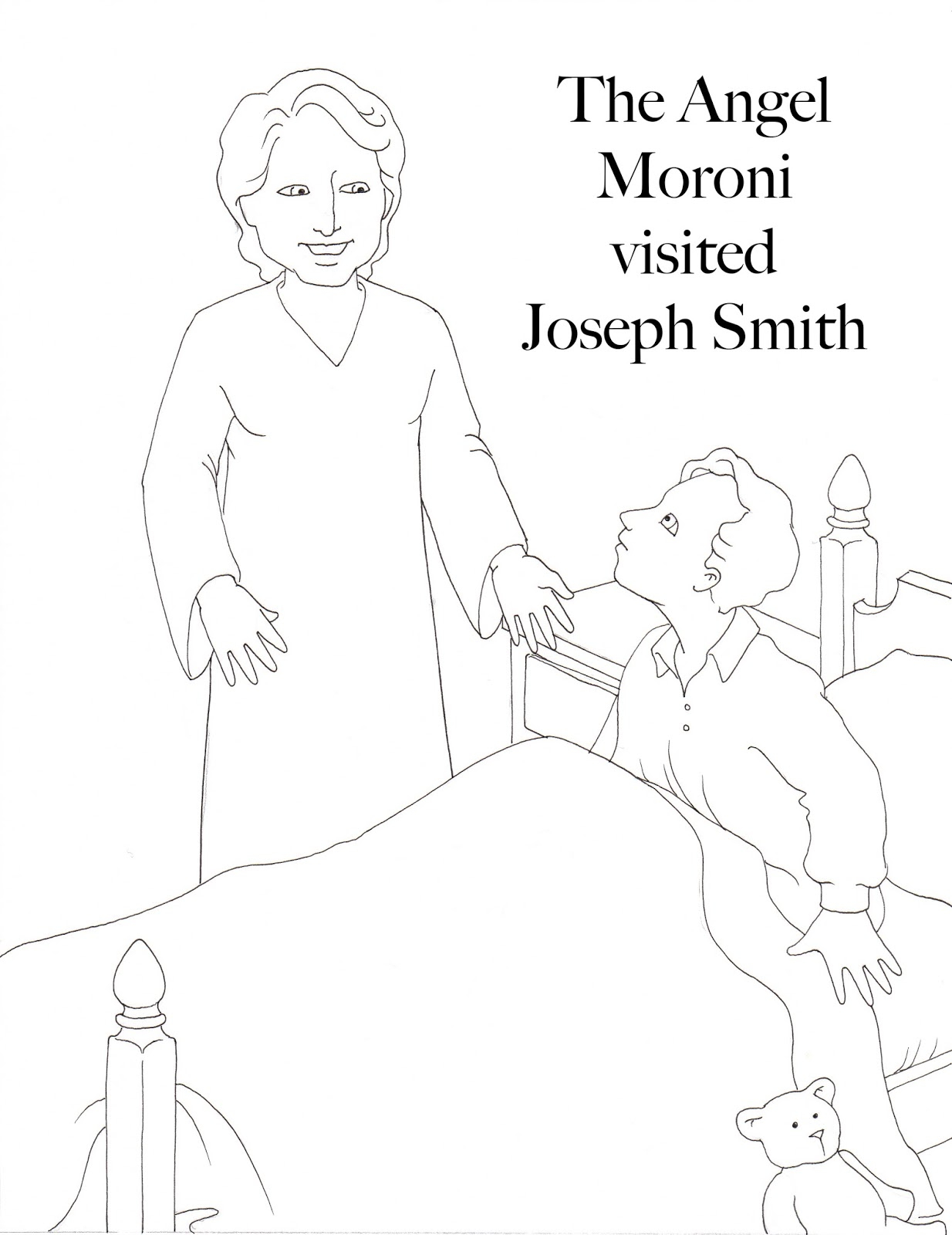 Angel Visits Joseph Coloring Page Susan Fitch Design Moroni Visits Joseph Coloring Page