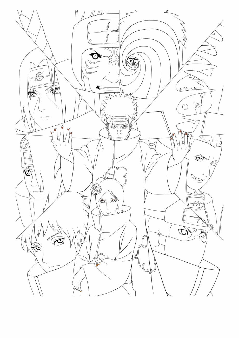 Anime Naruto Coloring Pages Naruto Coloring Pages Akatsuki Artbook Lineart Psd Akatsuki