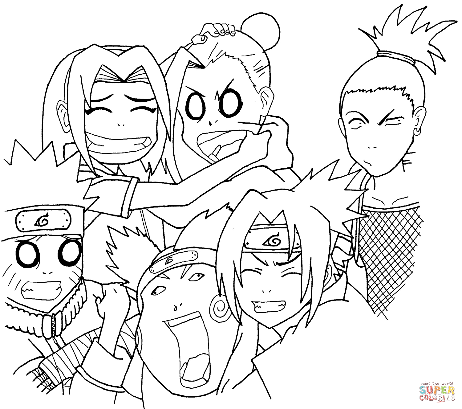 Anime Naruto Coloring Pages Naruto Squad 7 And 10 Coloring Page Free Printable Coloring Pages