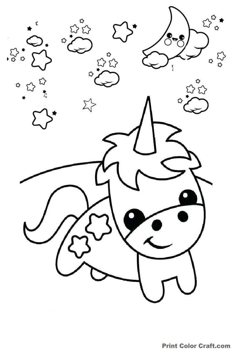 Cute Unicorn Coloring Pages Easy Draw And Cute Unicorn Coloring Pages For Kids Print Color Craft