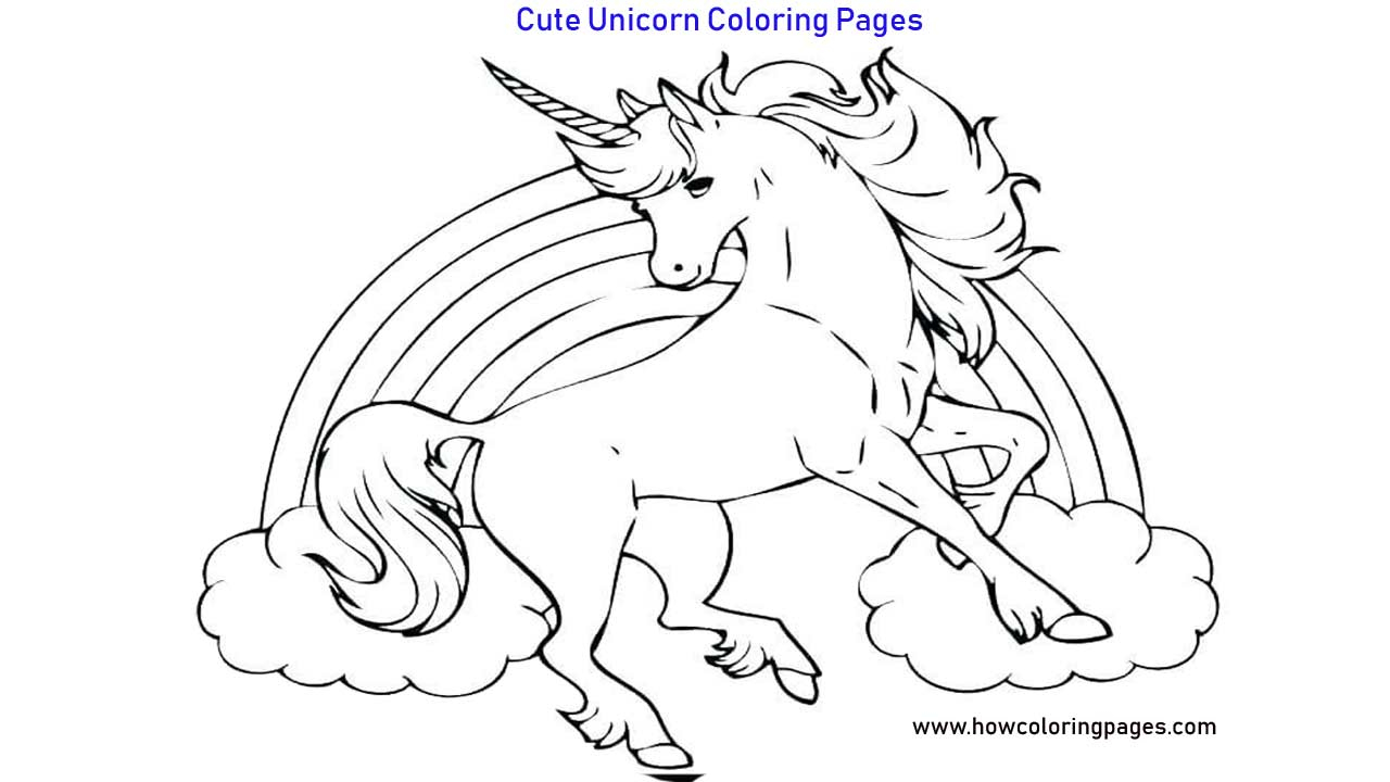 Cute Unicorn Coloring Pages Printable Cute Unicorn Coloring Pages For Kids
