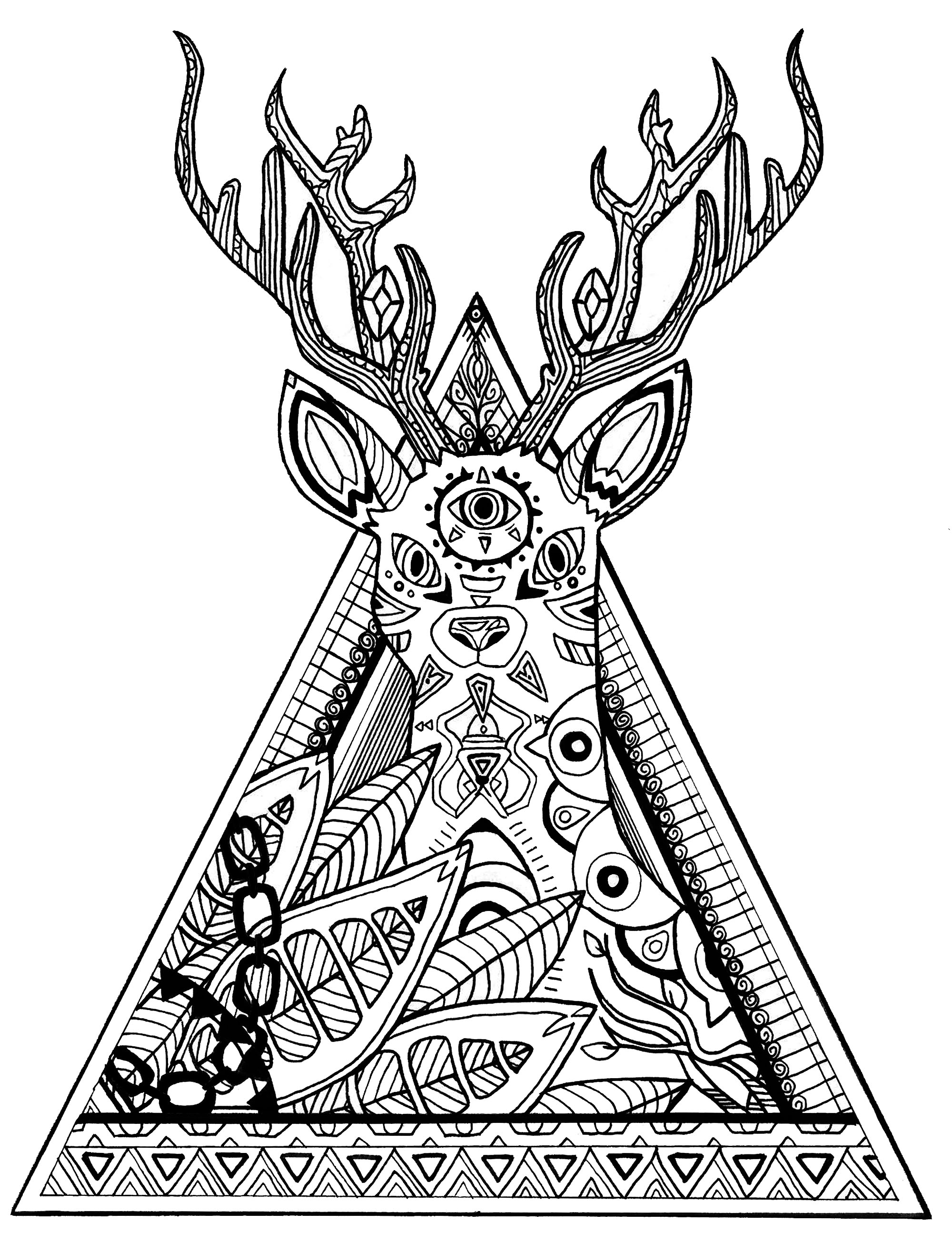 Deer Coloring Pages Deer In A Triangle Deers Adult Coloring Pages