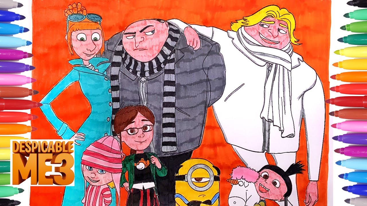 Despicable Coloring Pages Despicable Me 3 Coloring Pages How To Draw Color Minions Coloring Videos For Kids
