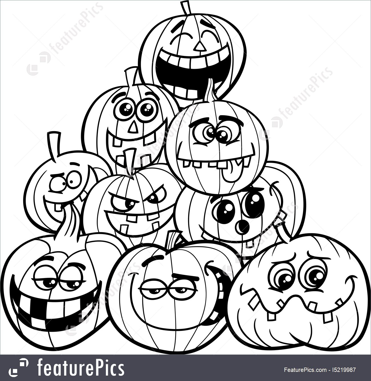 Halloween Pumpkin Coloring Pages Printables Coloring Pages Halloween Pumpkins Stock Illustration Pumpkin