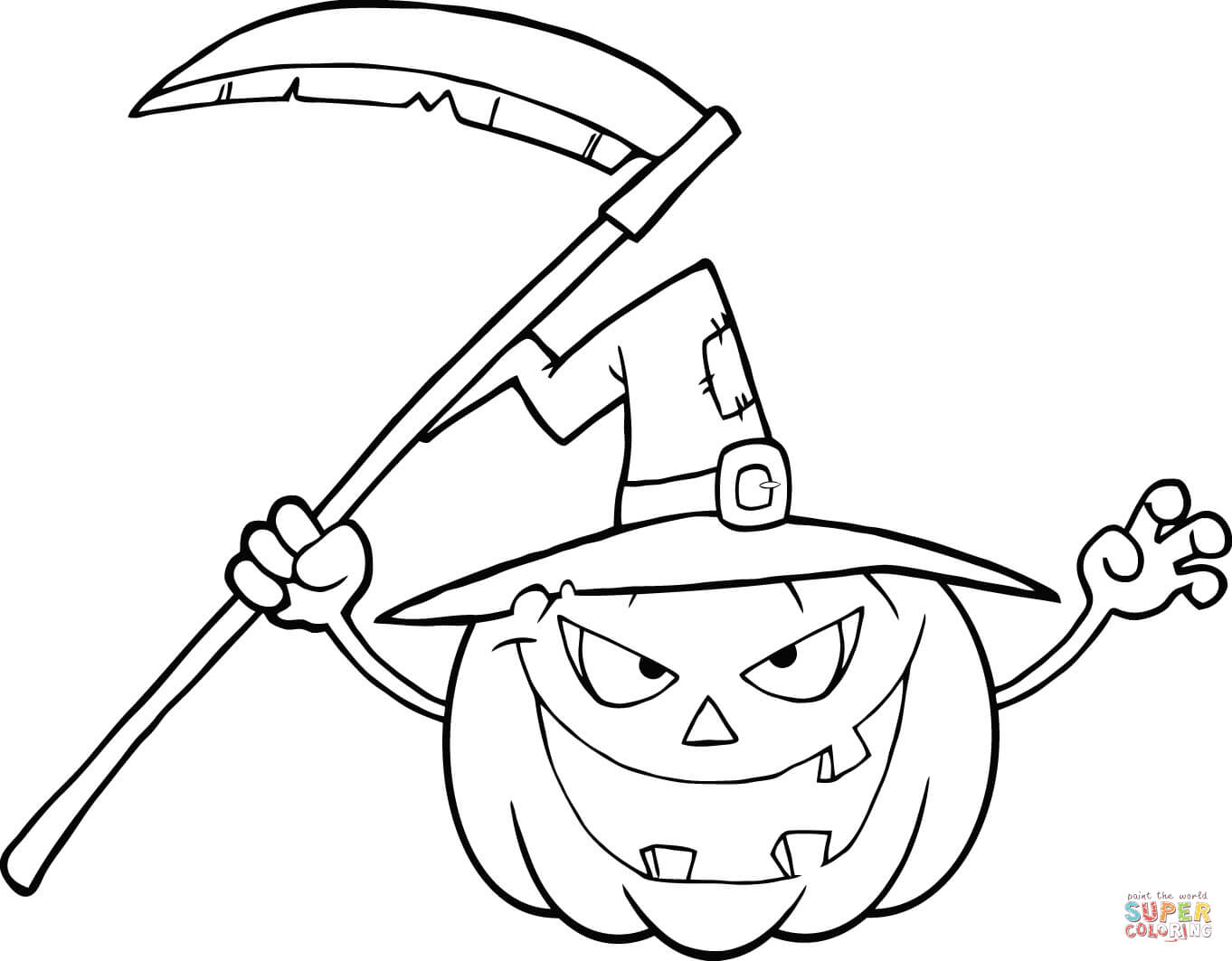 Halloween Pumpkin Coloring Pages Printables Scary Halloween Pumpkin With A Witch Hat And Scythe Coloring Page