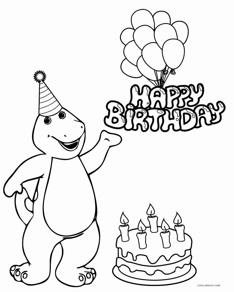 Happy Birthday Coloring Pages For Friends Free Printable Barney Coloring Pages For Kids Cool2bkids