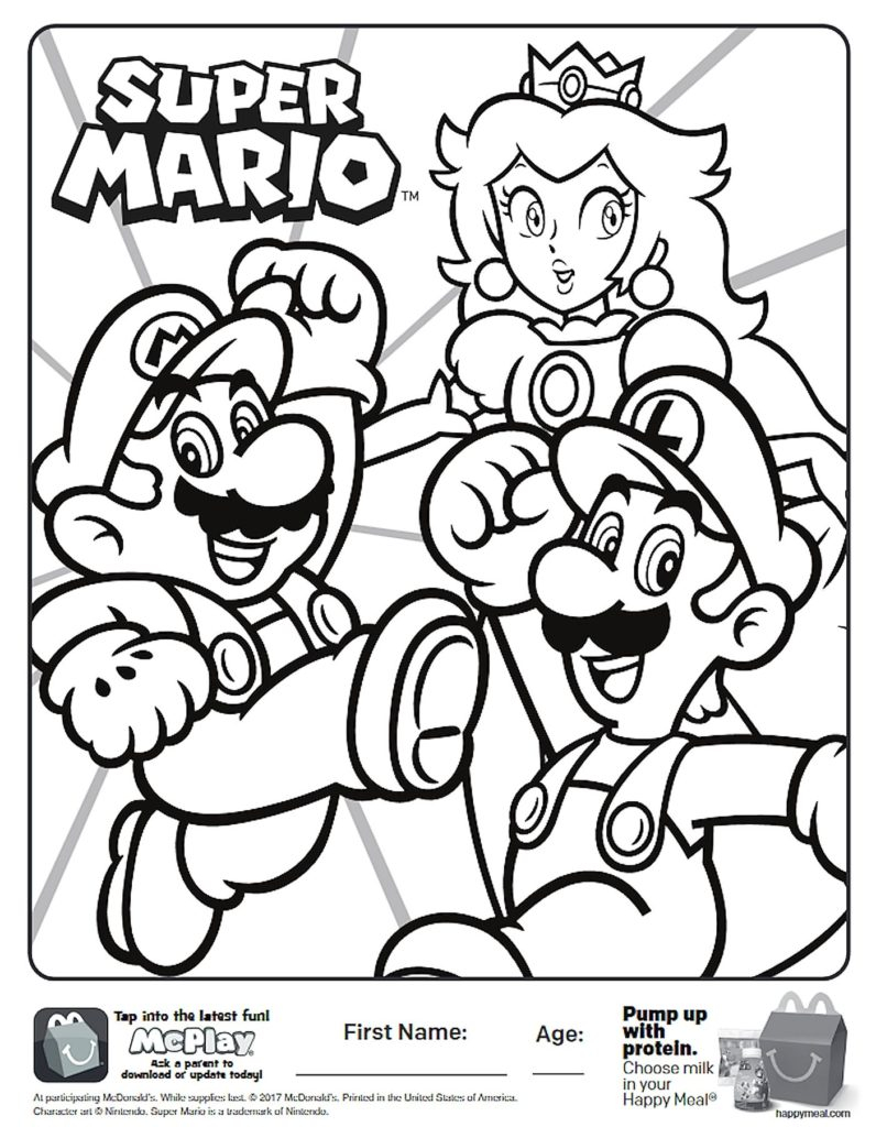 Mario Coloring Pages To Print Coloring Inspiration Coloring Super Mario Bros Plush Toys Of Toad