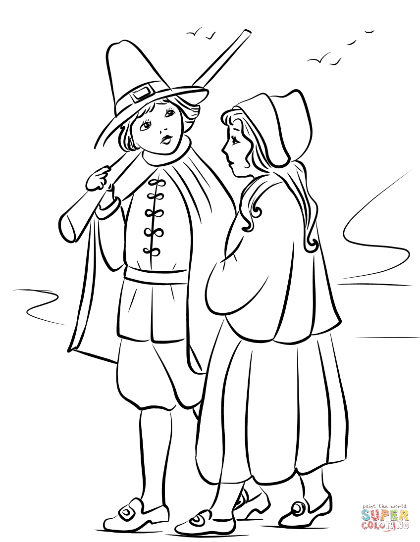 Pilgrim Coloring Pages Pilgrim Children Coloring Page Free Printable Coloring Pages