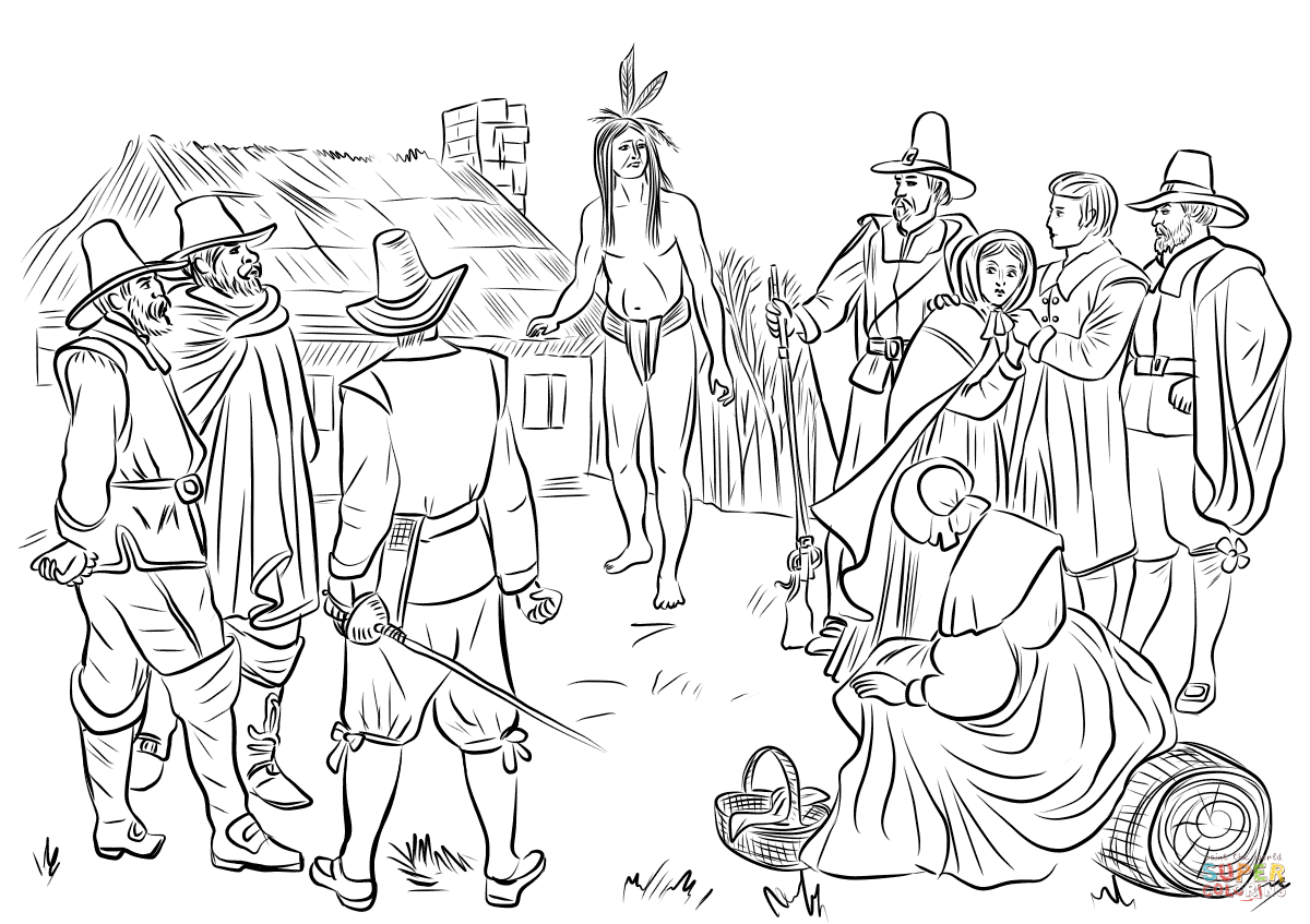 Pilgrim Indian Coloring Pages Pemaquid Indian Samoset Befriending Hungry Plymouth Colonists