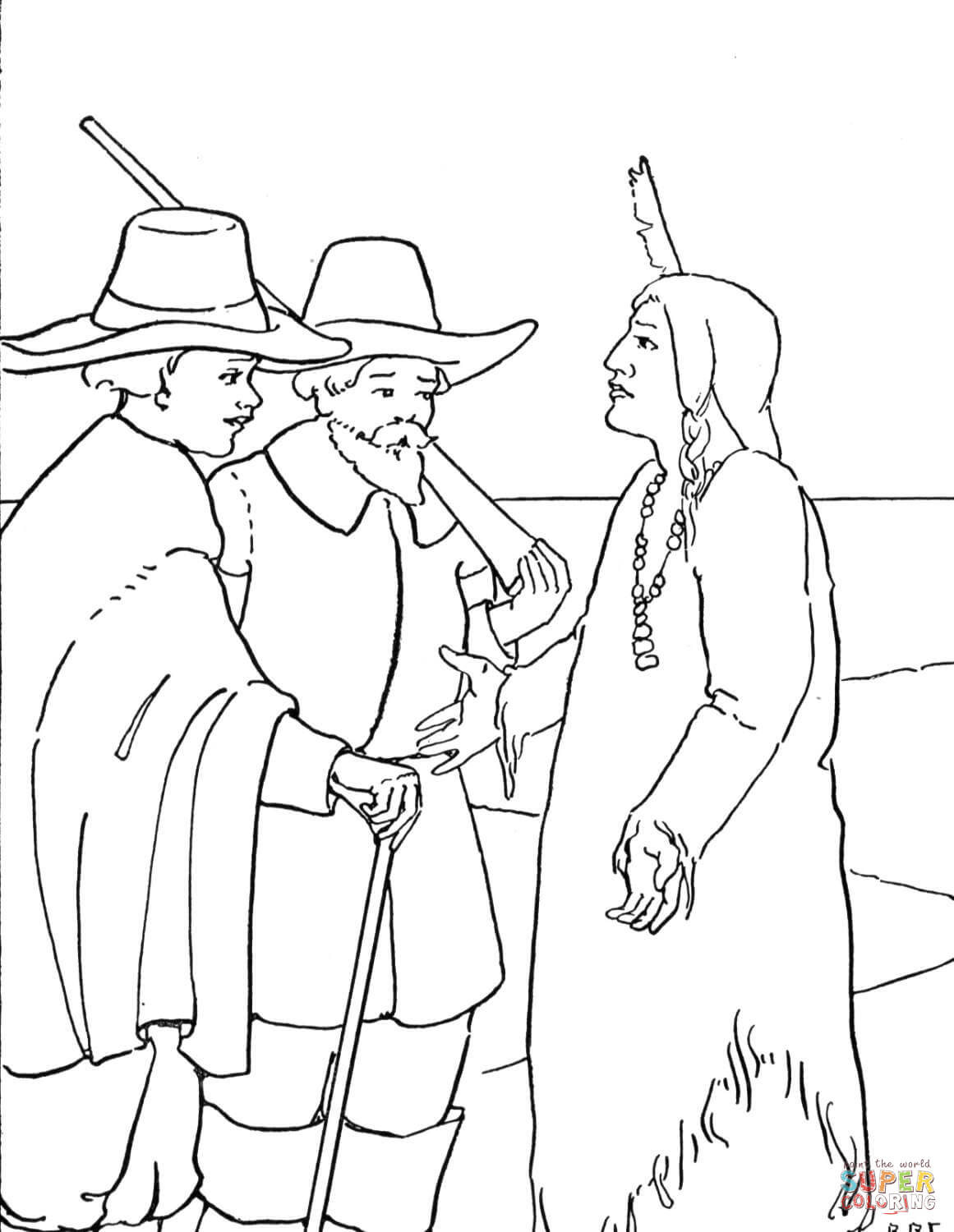 Pilgrim Indian Coloring Pages Thanksgiving Pilgrims And Indian Coloring Page Free Printable