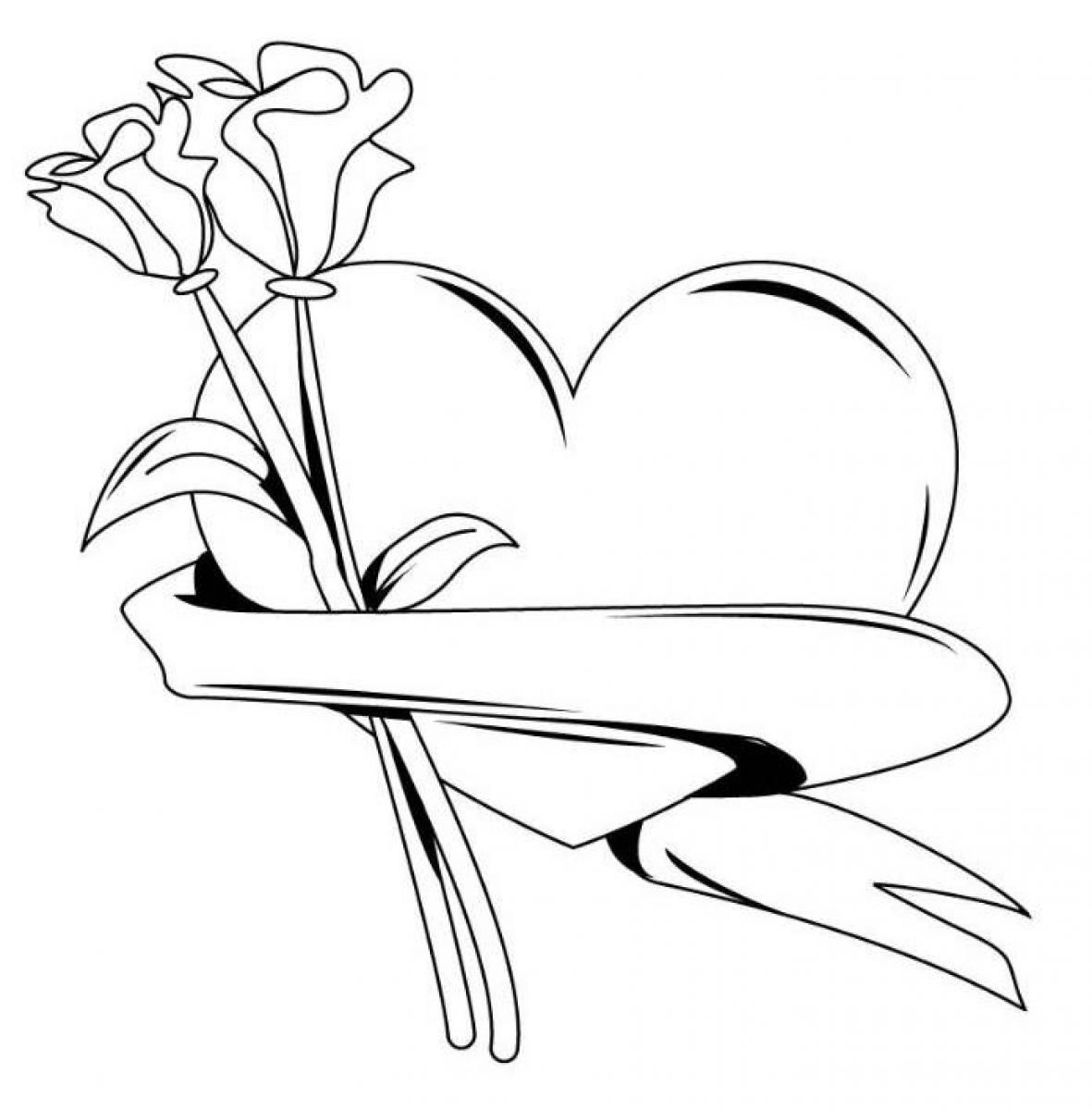 Roses And Hearts Coloring Pages Coloring Arts Hearts And Roses Coloring Pages Home Freef Heart