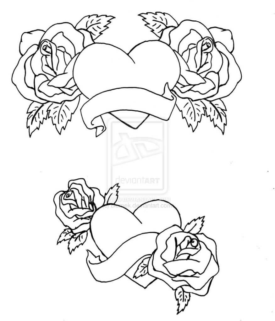 Roses And Hearts Coloring Pages Coloring Coloring Pages Of Roses And Hearts Free That Say I Love