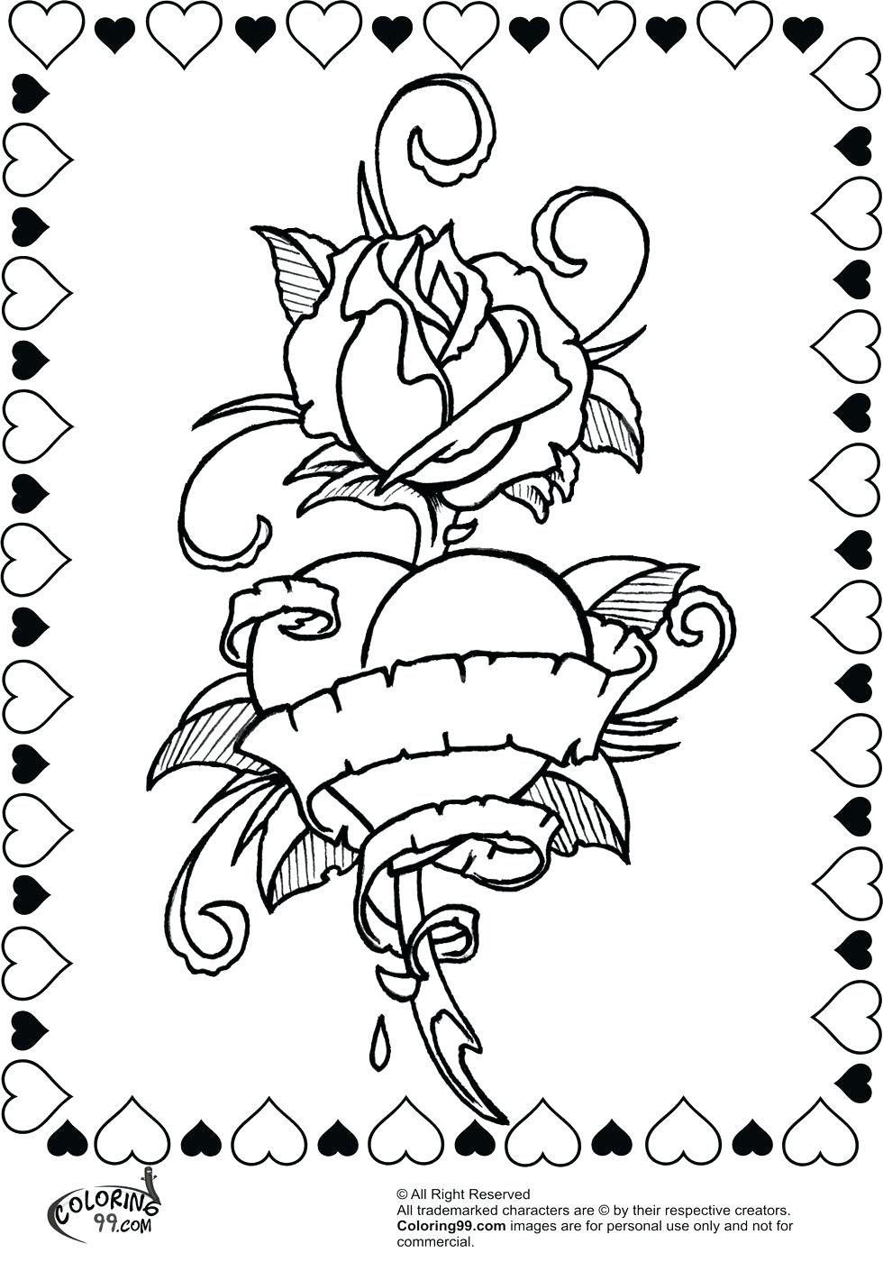Roses And Hearts Coloring Pages Drawing Roses And Hearts Crunchprintco