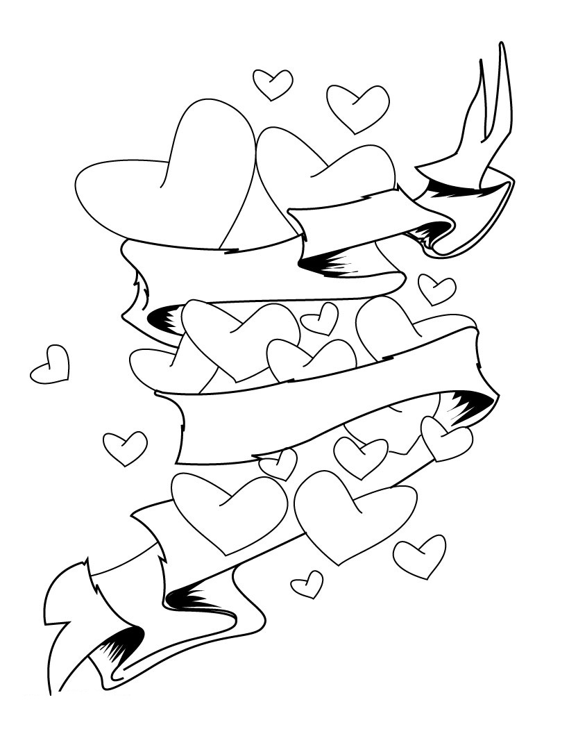 Roses And Hearts Coloring Pages Free Printable Heart Coloring Pages For Kids
