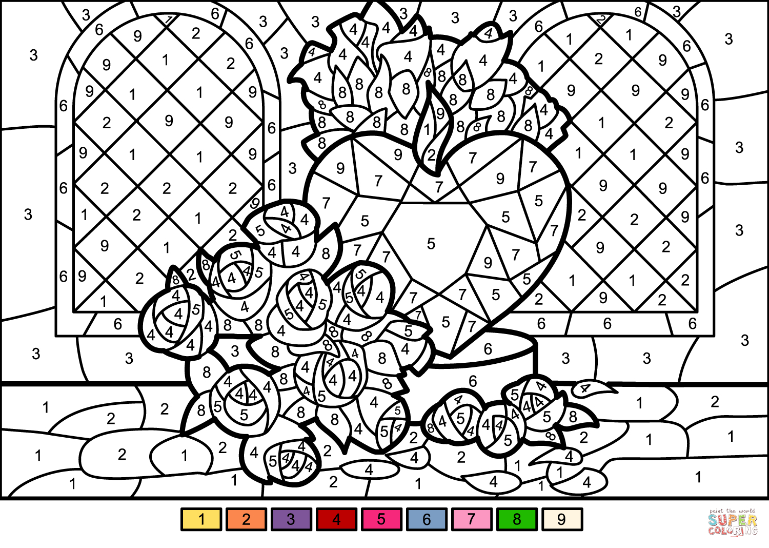 Roses And Hearts Coloring Pages Roses And Heart Color Number Free Printable Coloring Pages