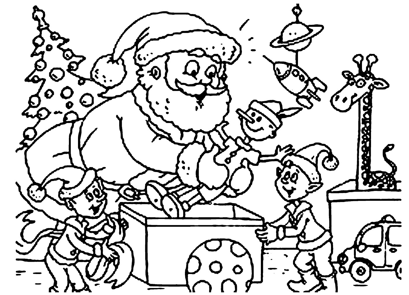Santa Claus In Sleigh Coloring Page Christmas Santa Drawing At Getdrawings Free For Personal Use