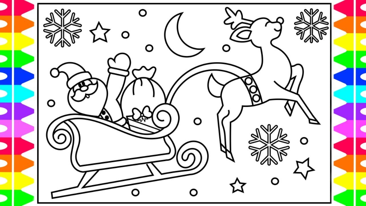 Santa Claus In Sleigh Coloring Page How To Draw Santas Sleigh Step Step For Kids Santa Claus Sleigh Coloring Page Christmas