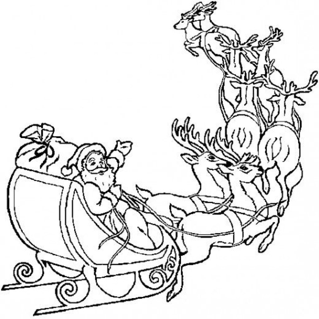 Santa Claus In Sleigh Coloring Page Santa And His Reindeer Coloring Pages