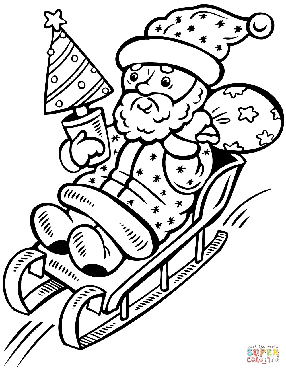 Santa Claus In Sleigh Coloring Page Santa Claus On Sleigh With Christmas Tree Coloring Page Free Awesome