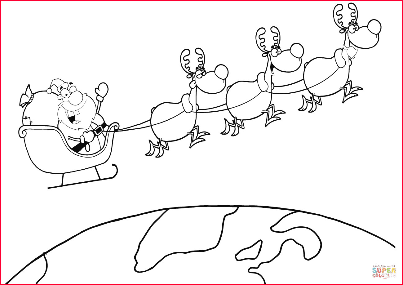 Santa Claus In Sleigh Coloring Page Santa Claus Sleigh Drawing At Paintingvalley Explore