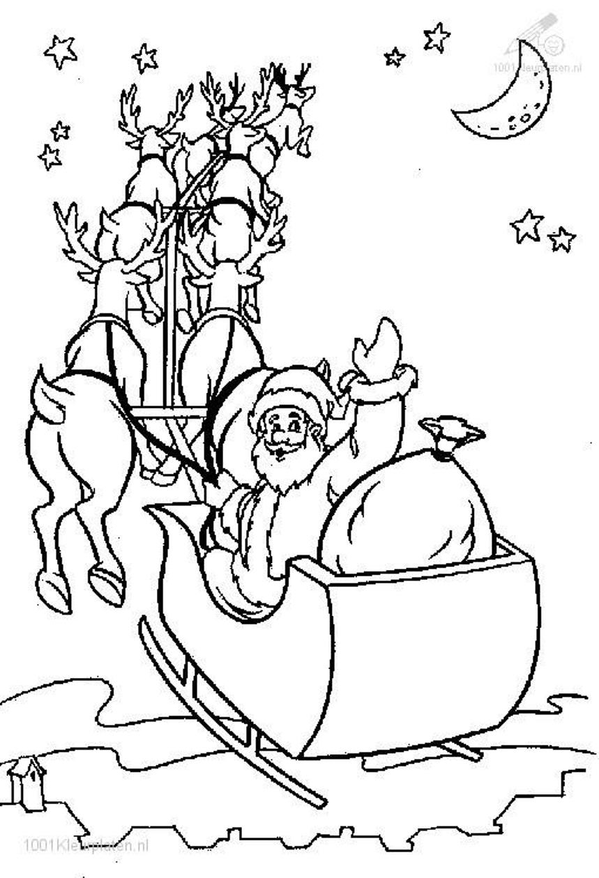 Santa Claus In Sleigh Coloring Page Santa In His Sleigh Coloring Pages