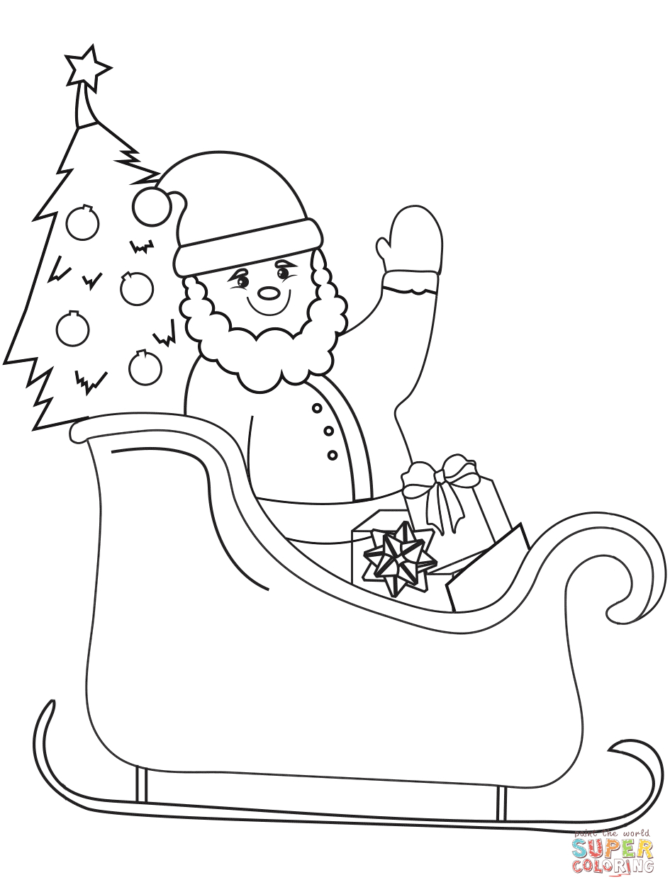 Santa Claus In Sleigh Coloring Page Santa On Sleigh Coloring Page Free Printable Coloring Pages