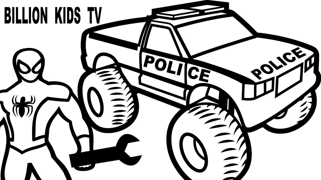 Adult Coloring Pages Trucks Spiderman Monster Truck Coloring Pages