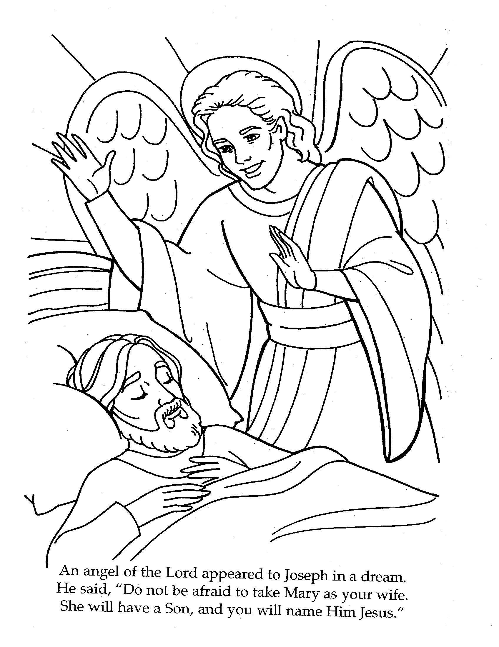Angel Visits Joseph Coloring Page Mary Angel Gabriel Coloring Page Best Of Bible Angels Archangel