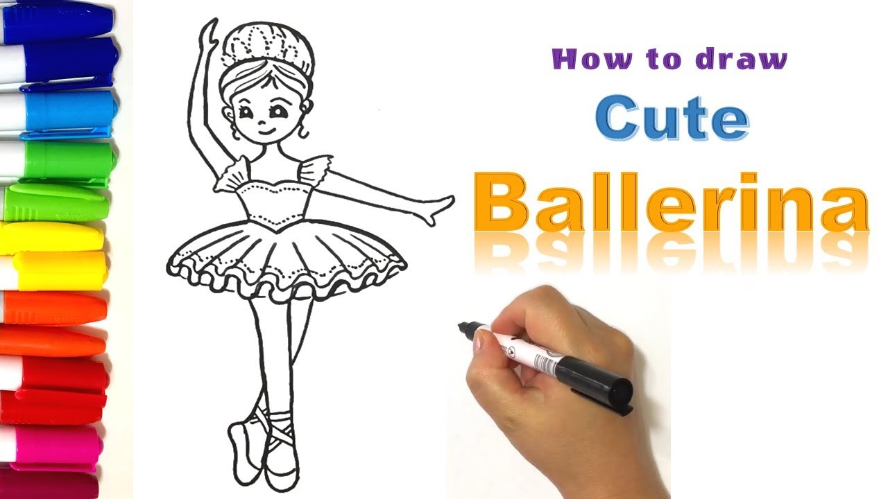 Ballerina Coloring Pages For Kids How To Draw A Cute Ballerina Coloring Pages For Kids