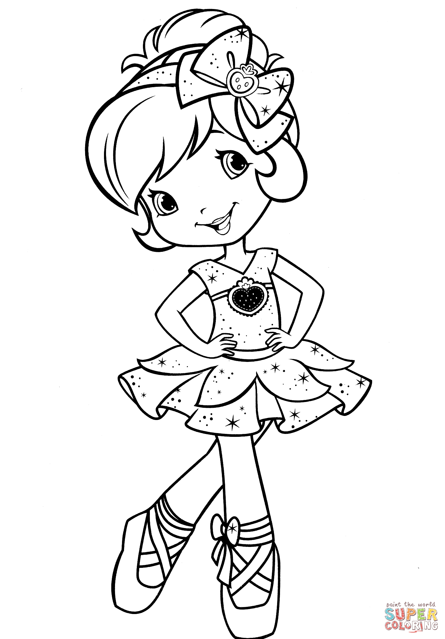 Ballerina Coloring Pages For Kids Strawberry Shortcake Ballerina Coloring Page Free Printable