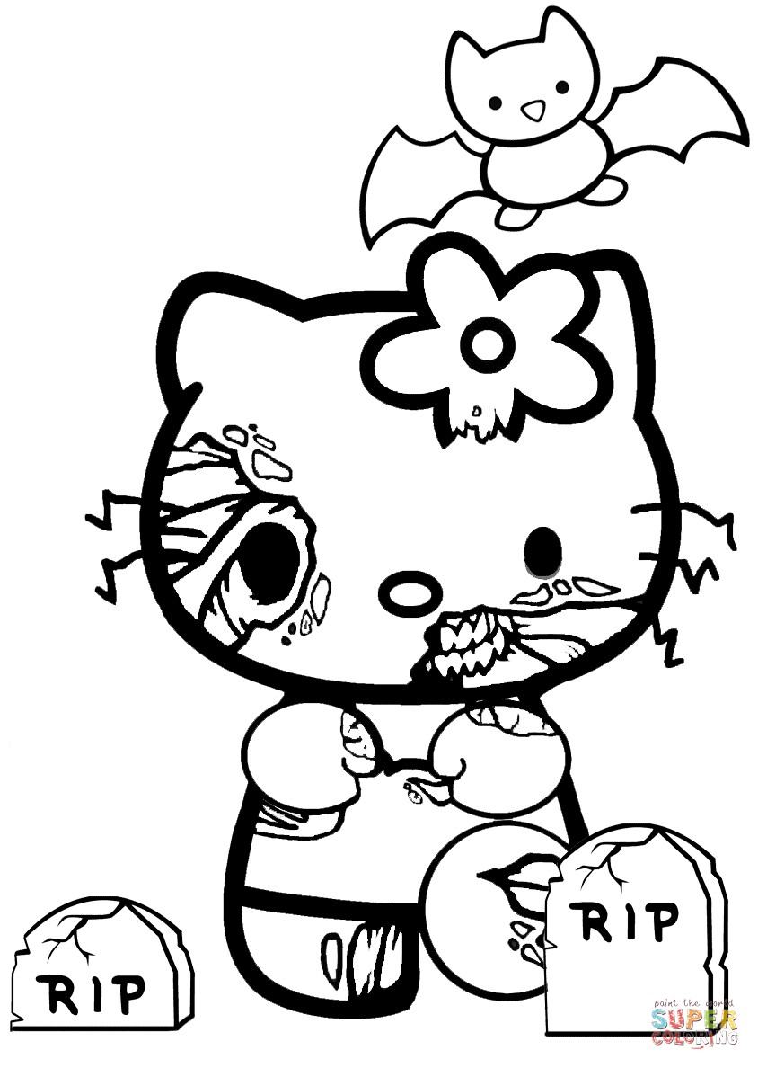 Barbie Halloween Coloring Pages Coloring Ideas Coloring Ideas Hello Kitty Drawings For Zombie Page
