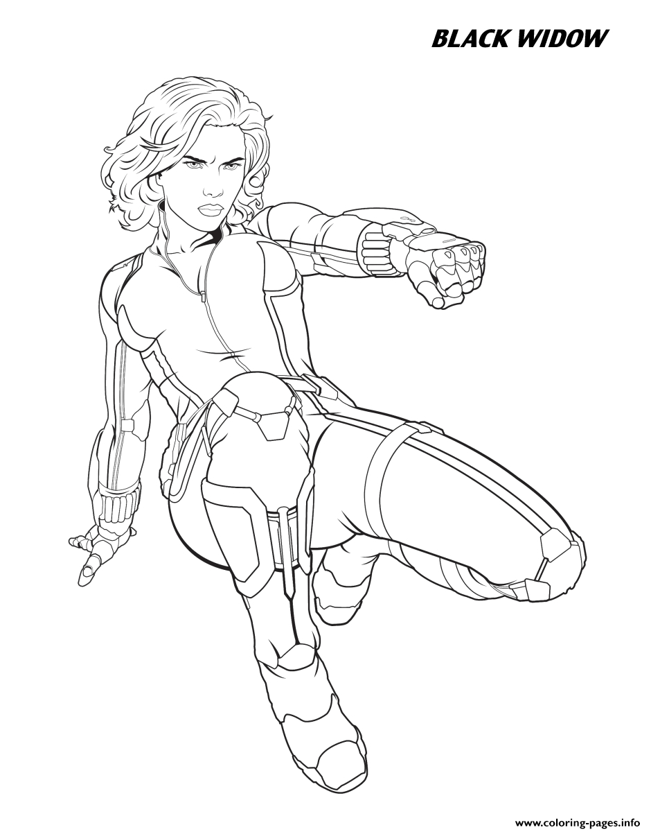 Black Widow Avengers Coloring Pages Black Widow From The Avengers Heroes Coloring Pages Printable