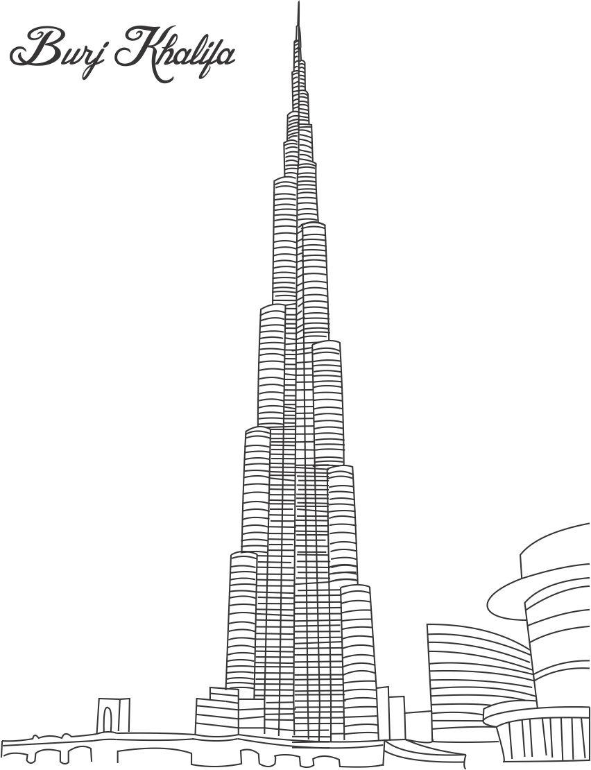 Building Coloring Page Burj Khalifa Coloring Page For Kids