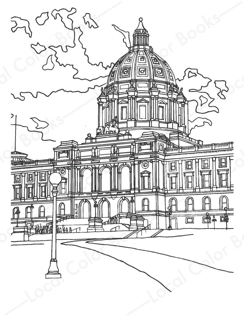 Building Coloring Page Capitol Building Color Saint Paul Printable Instant Digital Download Adult Coloring Page