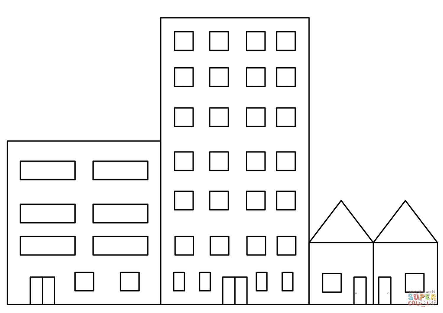 Building Coloring Page City Buildings Coloring Page Free Printable Coloring Pages