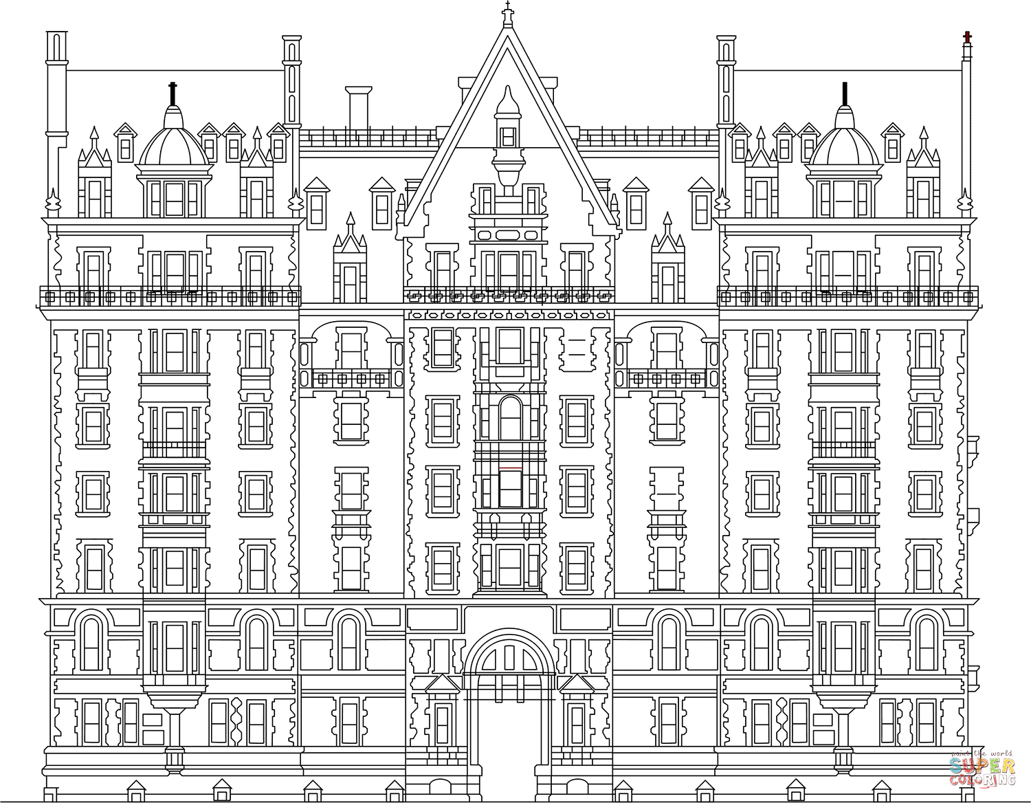 Building Coloring Page Dakota Apartments Building In New York Coloring Page Free