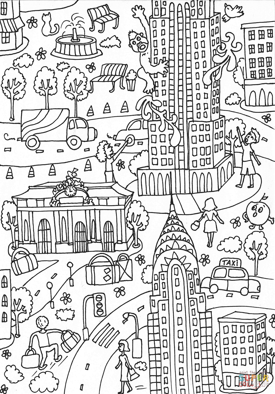 Building Coloring Page Empire State Building And Chrysler Building Coloring Page Free