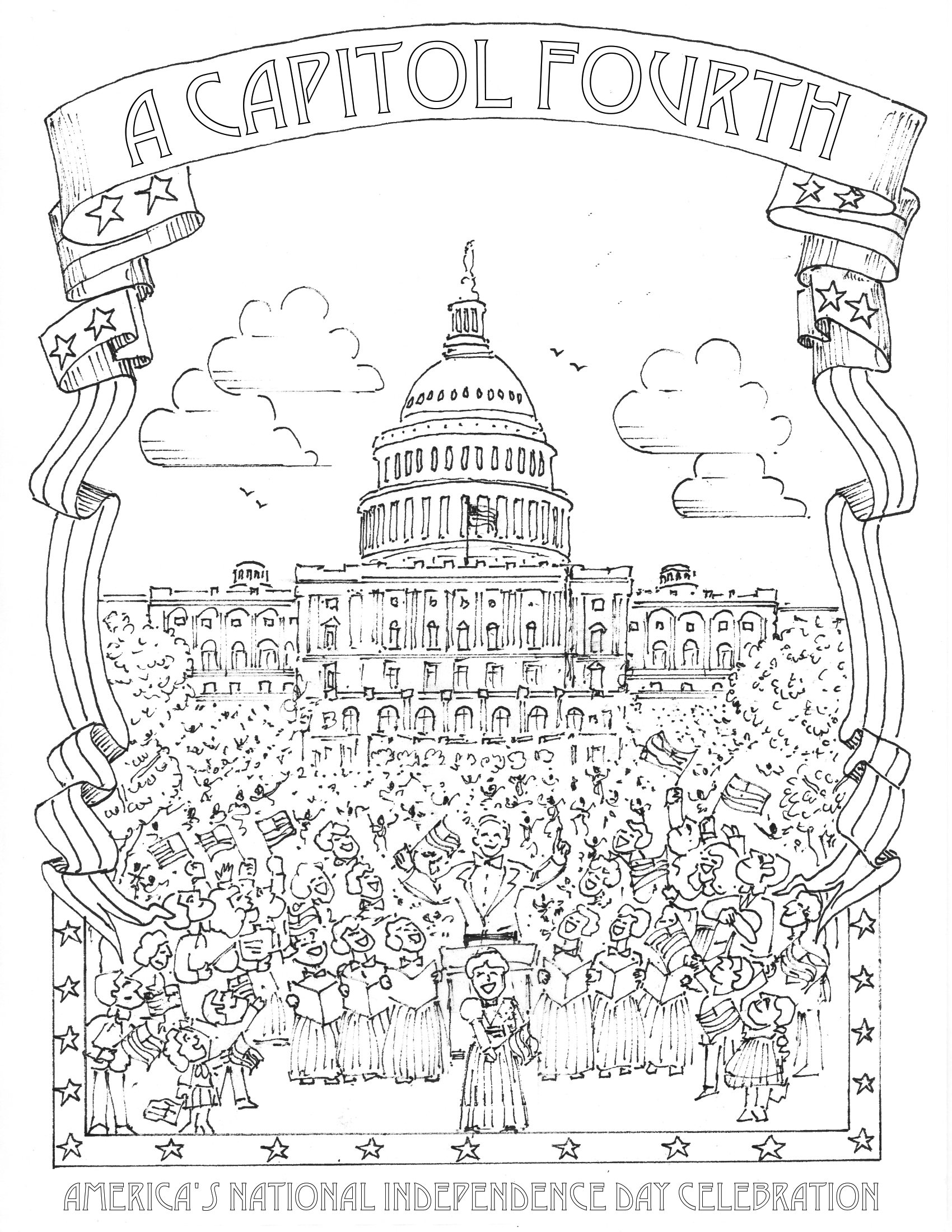 Building Coloring Page Fourth Of July Coloring Pages A Capitol Fourth Pbs