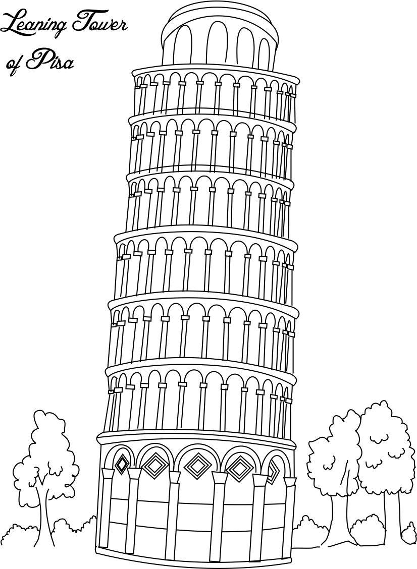 Building Coloring Page Leaning Tower Of Pisa Coloring Page For Kids