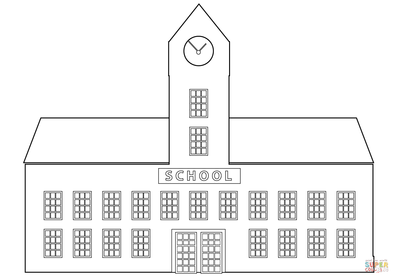 Building Coloring Page School Building Coloring Page Free Printable Coloring Pages