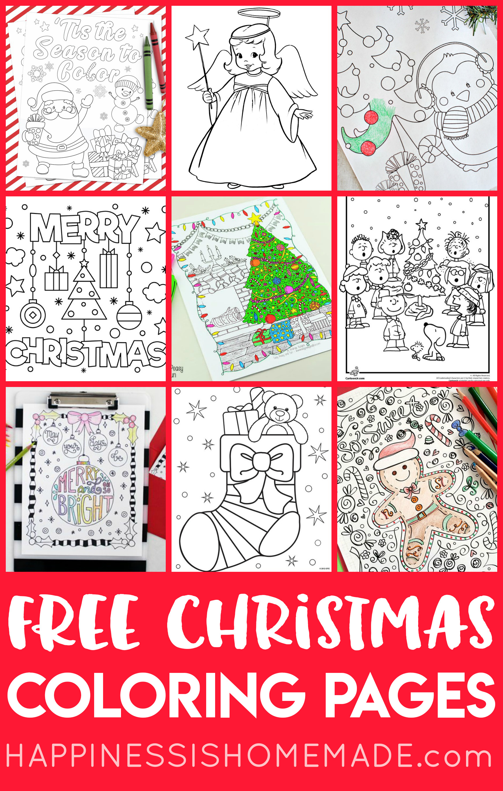Christmas Color Pages For Kids Free Christmas Coloring Pages For Adults And Kids Happiness Is