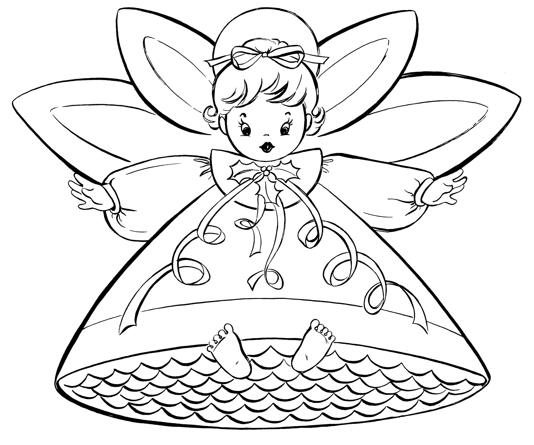 Christmas Color Pages For Kids Free Christmas Coloring Pages Retro Angels The Graphics Fairy