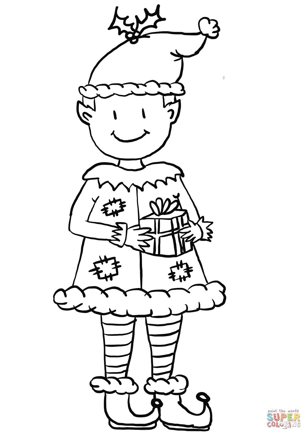 Christmas Elf Coloring Pages Christmas Elf Coloring Page Free Printable Coloring Pages