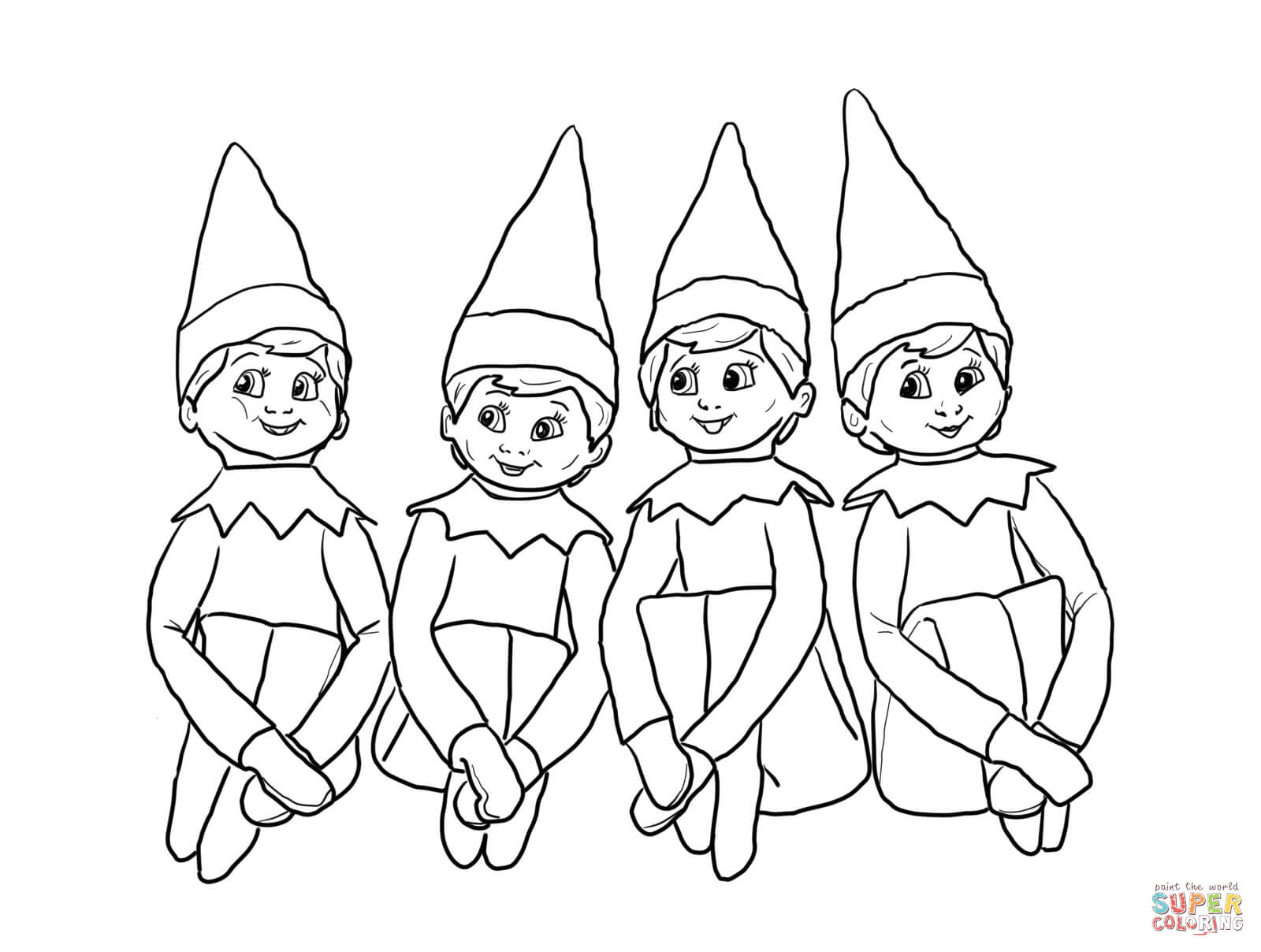 Christmas Elf Coloring Pages Elves On The Shelf Coloring Page Free Printable Coloring Pages