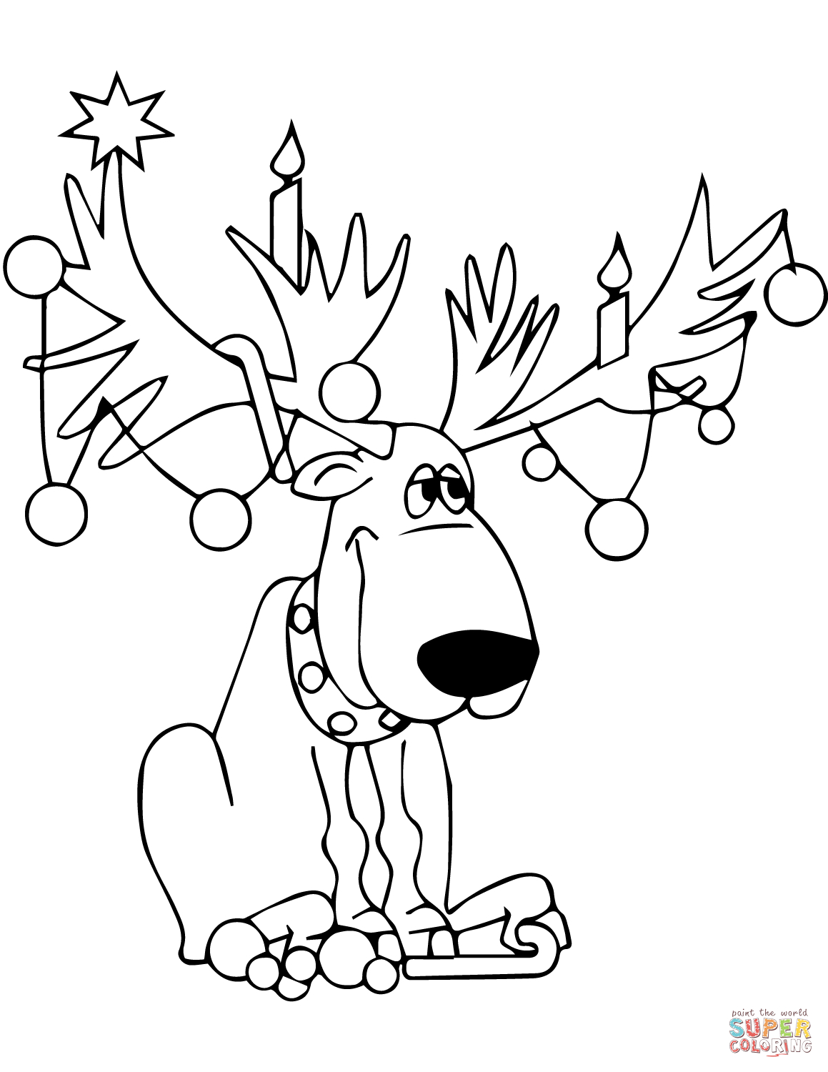 Christmas Lights Color Pages Christmas Lights On Reindeer Antlers Coloring Page Free Printable