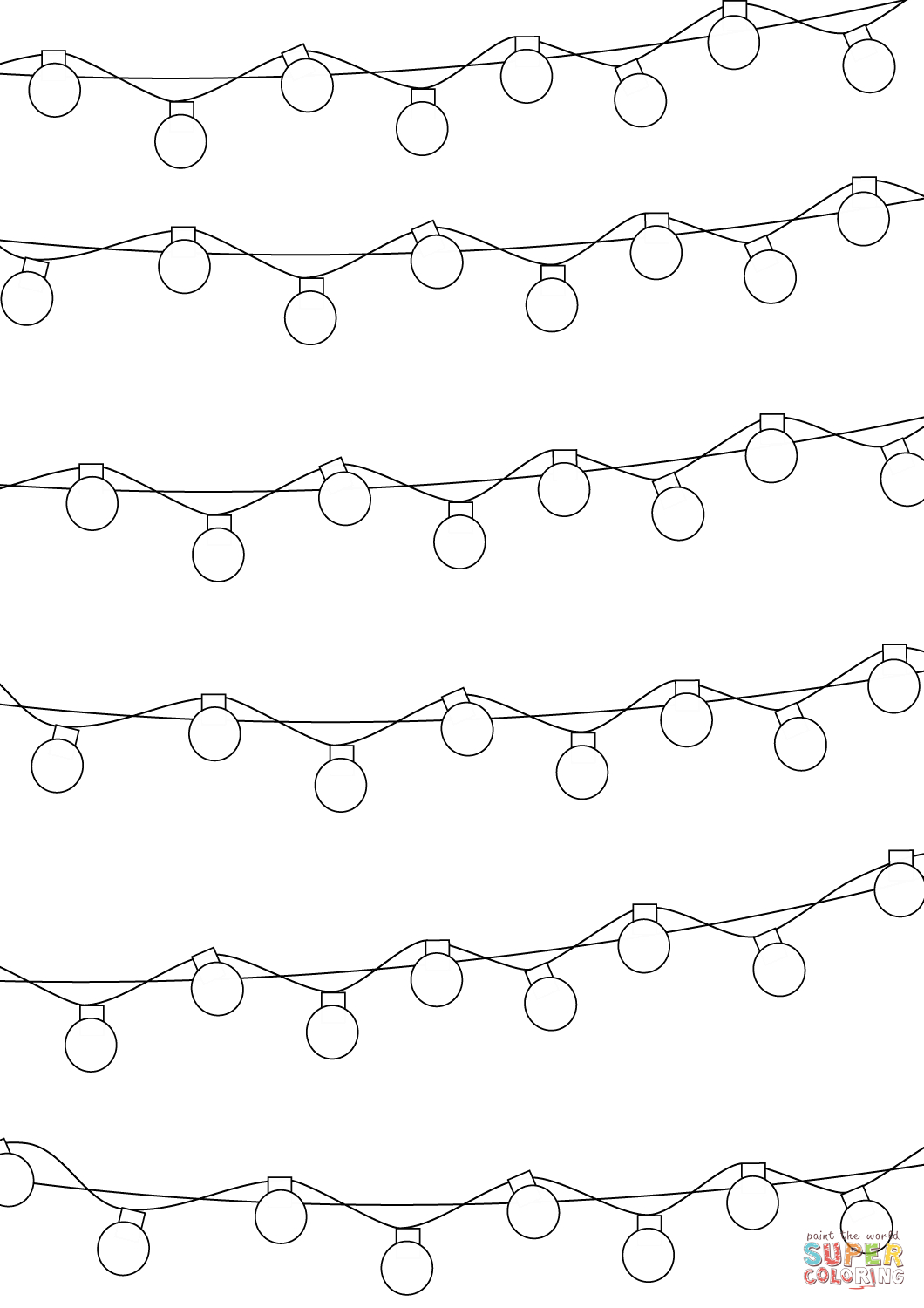 Christmas Lights Color Pages Christmas Lights Pattern Coloring Page Free Printable Coloring Pages