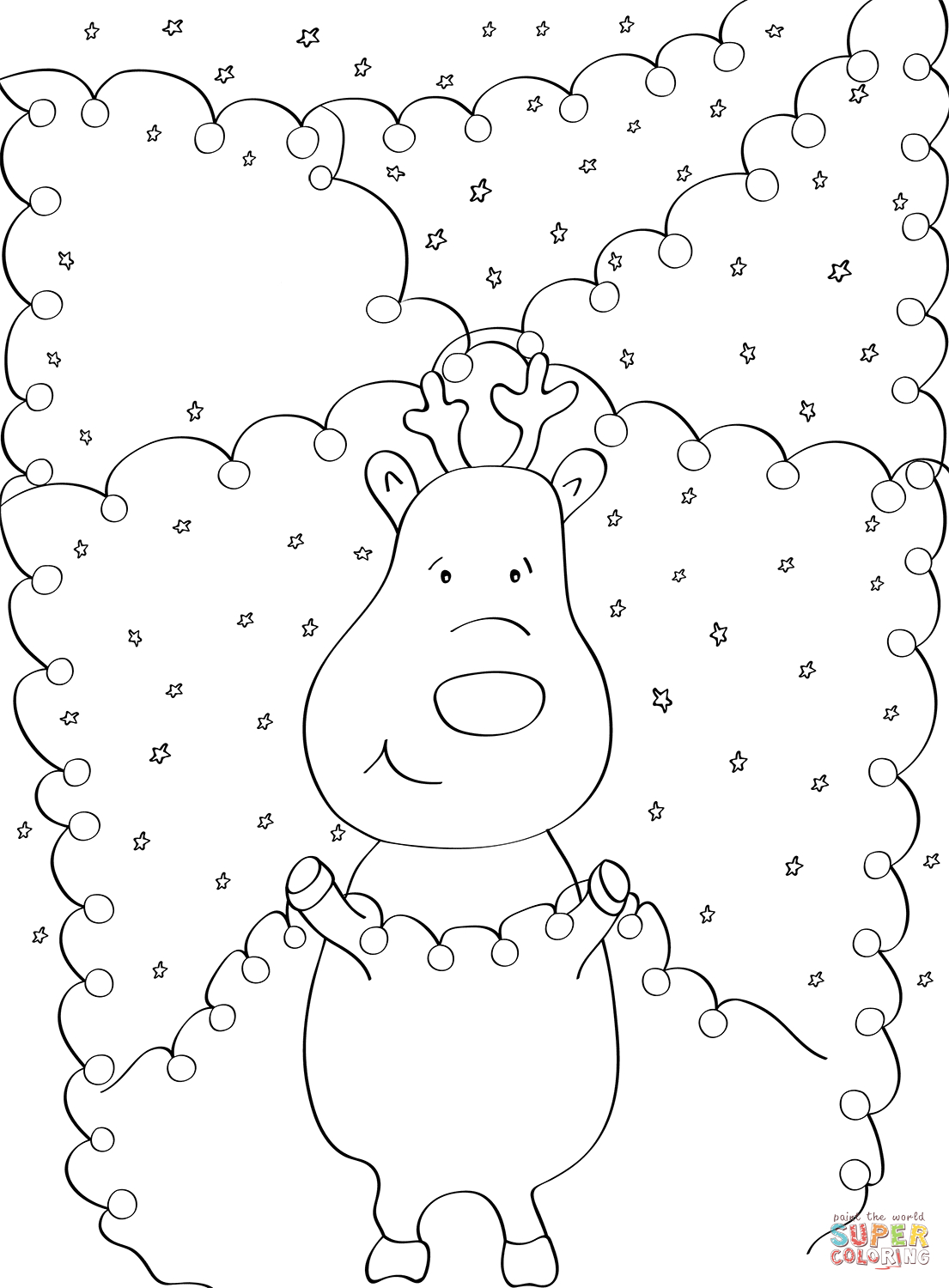 Christmas Lights Color Pages Reindeer With Christmas Lights Coloring Page Free Printable
