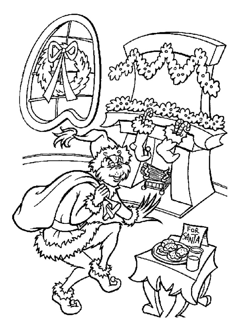 Christmas Lights Color Pages The Grinch Coloring Pages Stole Christmas Coloringstar