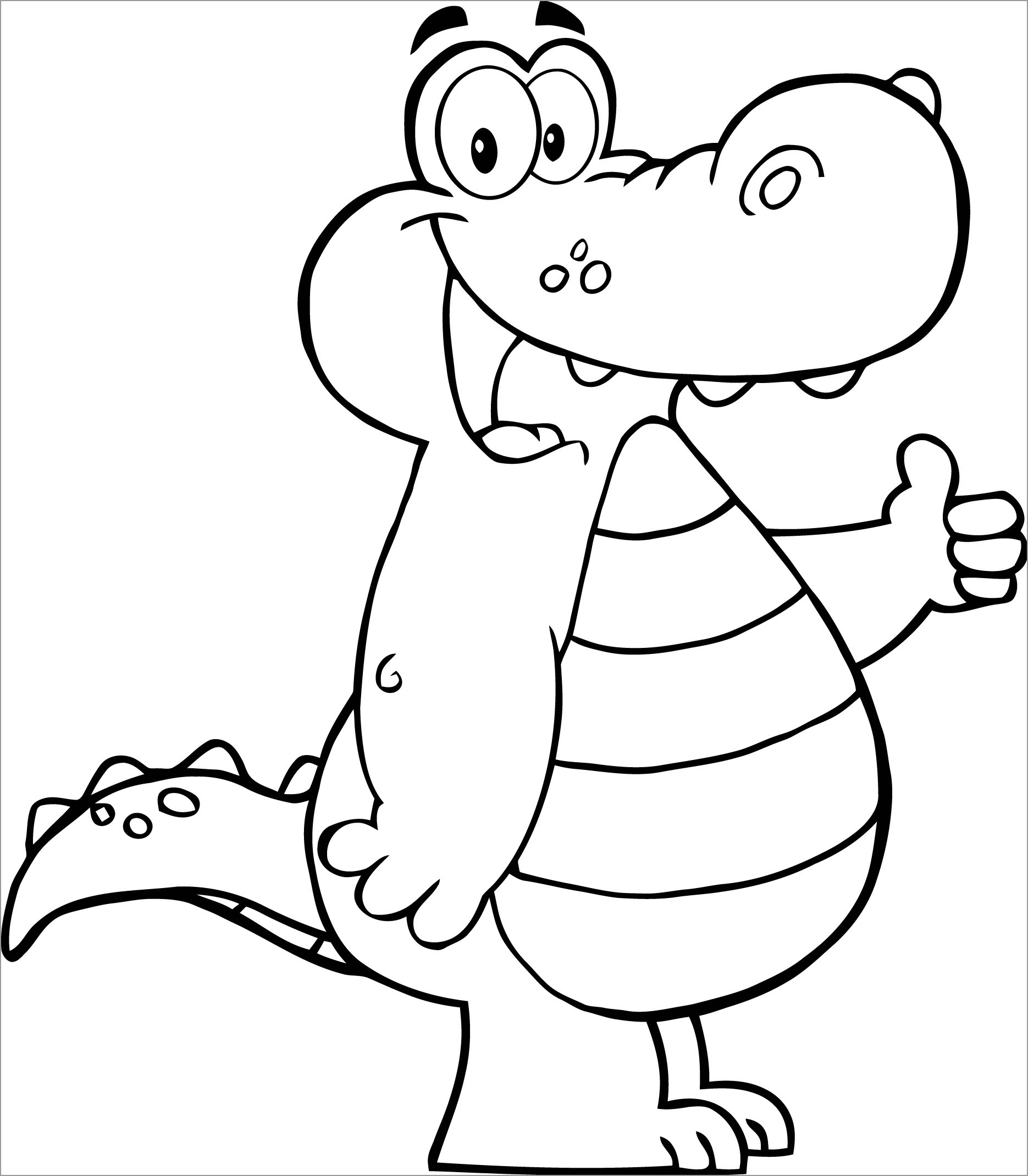 Coloring Page Alligator Alligator Showing Thumbs Up Coloring Page Coloringbay